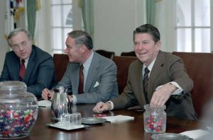 1/26/1981 President Reagan with jellybeans with Alexander Haig and Richard Allen during a meeting with Interagency Working Committee on Terrorism in the Cabinet Room