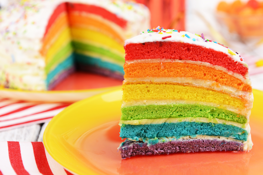 delicious-rainbow-cake-on-plate-table