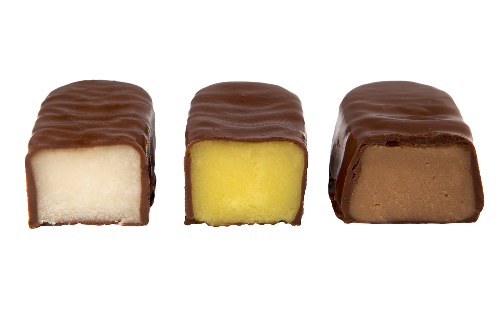 Three filled chocolate bars cut in half.