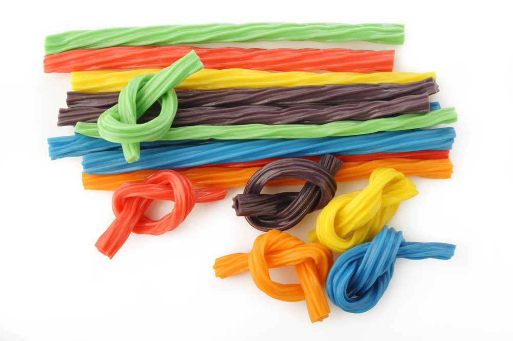 Sweet candy. Different colored licorice sticks.