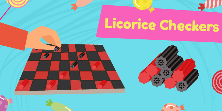 Checkerboard with black and red licorice pieces. 'Licorice Checkers'