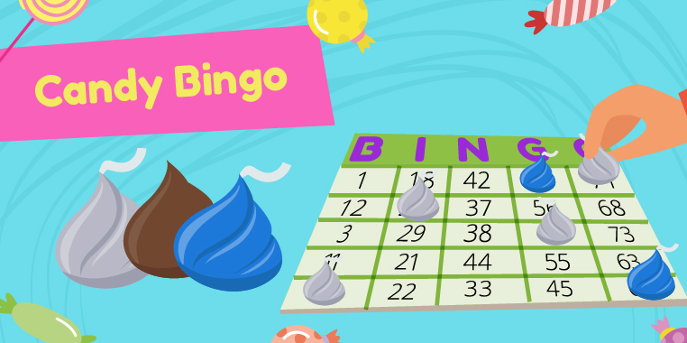 A numbered bingo card with chocolate candy playing pieces. 'Candy Bingo'. Candy games for birthday parties.