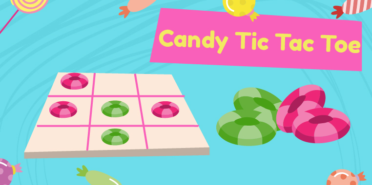 A tic tac toe board with red and green candy pieces. 'Candy Tic Tac Toe'