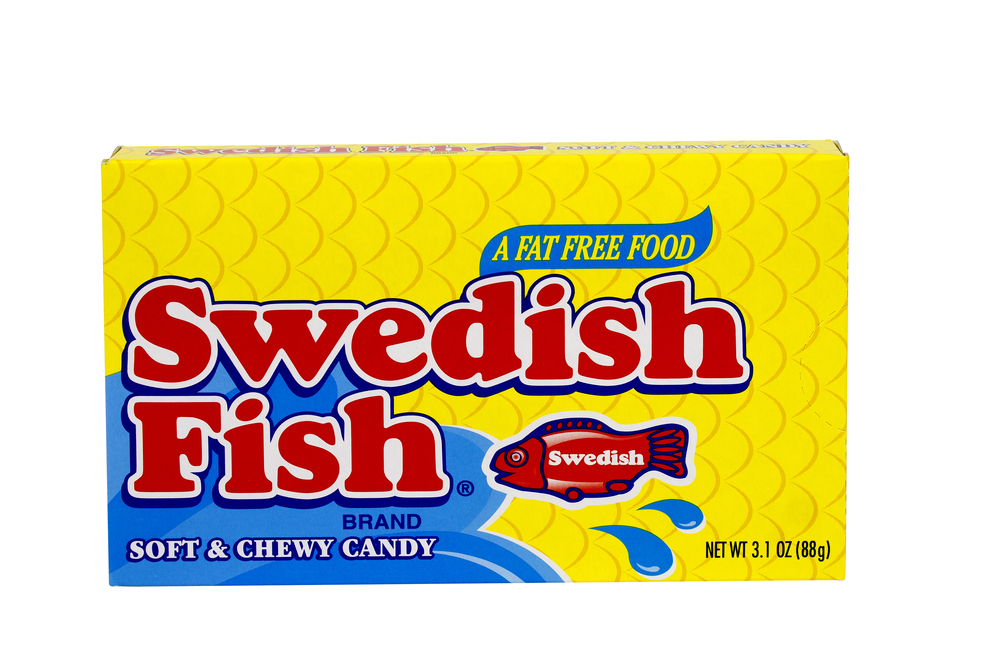 A box of Swedish Fish candy