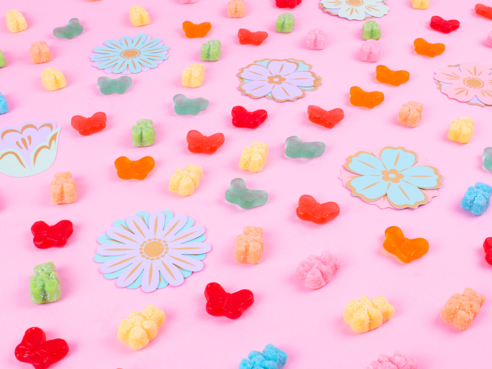 Candy Club Gummy Butterflies and Blossom Bears arranged in a spring time pattern