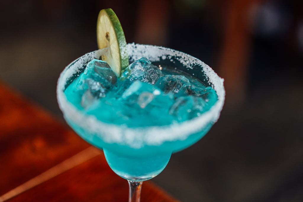 Blue candy-inspired cocktail drink