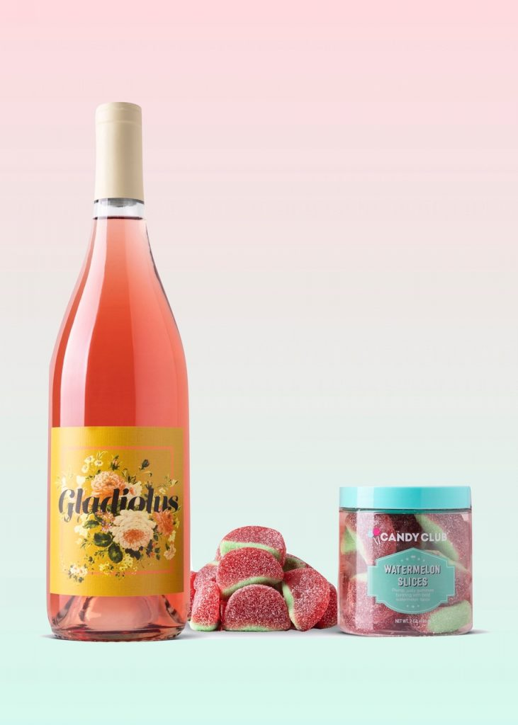 Candy and wine guide: Rosé and Fruity candy (Watermelon Slices)