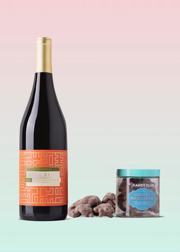 Candy and wine pairing: light red and milk chocolate (Chocolate Maple Clusters)