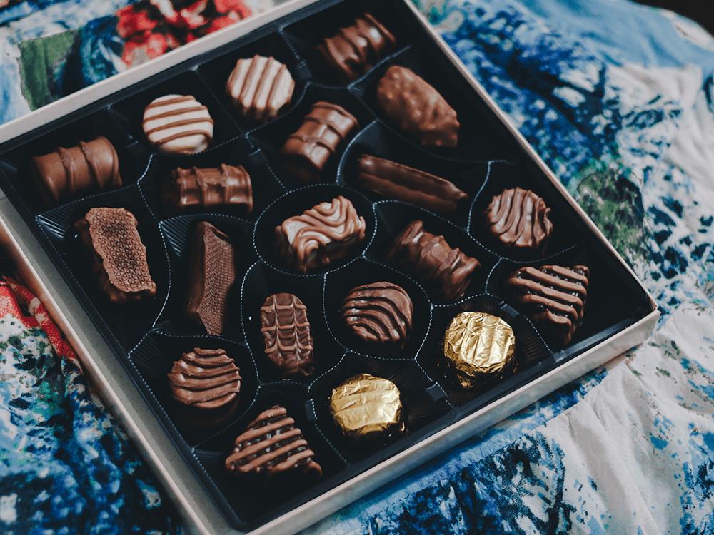 assorted chocolate. American chocolate versus European chocolate