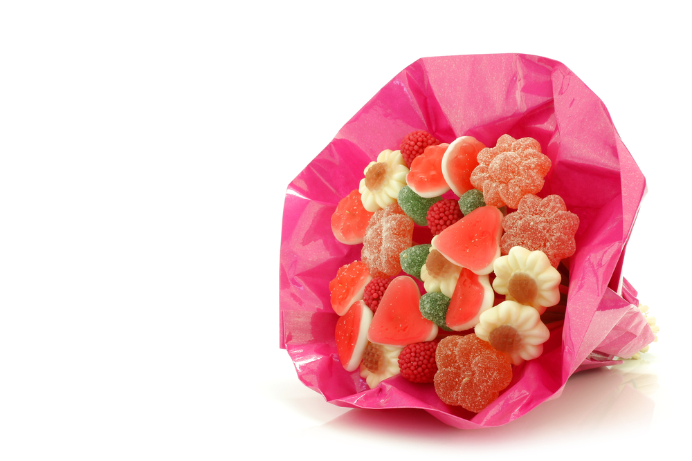 Pink candy bouquet for graduation gift